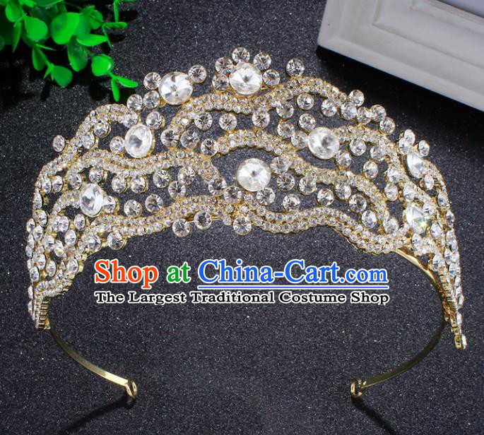 Top Grade Baroque Crystal Beads Royal Crown Bride Retro Wedding Hair Accessories for Women