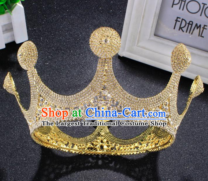 Top Grade Baroque Style Golden Royal Crown Bride Retro Wedding Hair Accessories for Women