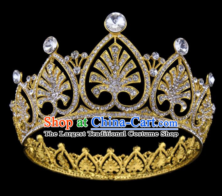 Top Grade Baroque Style Golden Crystal Royal Crown Bride Retro Wedding Hair Accessories for Women