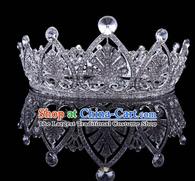 Top Grade Baroque Style Crystal Royal Crown Bride Retro Wedding Hair Accessories for Women