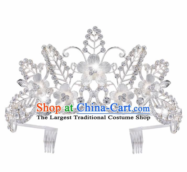 Top Grade Baroque Style Flowers Royal Crown Bride Retro Wedding Hair Accessories for Women