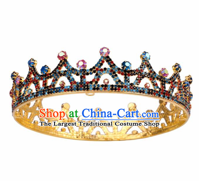 Top Grade Baroque Style Colorful Round Royal Crown Bride Retro Wedding Hair Accessories for Women
