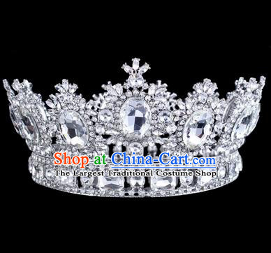 Top Grade Baroque Style Rhinestone Royal Crown Bride Retro Wedding Hair Accessories for Women