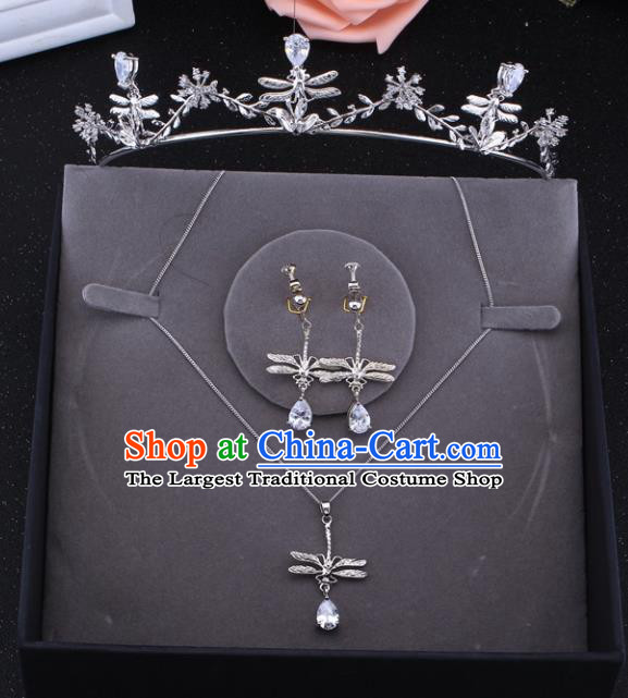 Top Grade Baroque Style Bride Jewelry Accessories Crystal Dragonfly Royal Crown Necklace and Earrings for Women