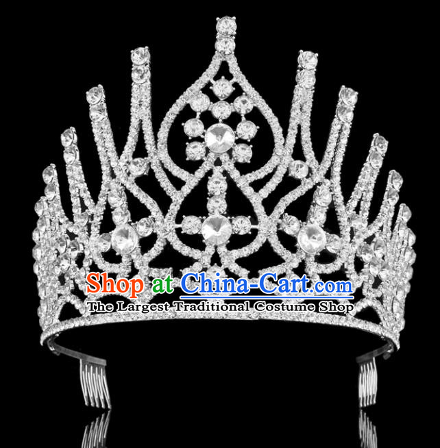 Top Grade Baroque Style Handmade Crystal Royal Crown Bride Retro Wedding Hair Accessories for Women