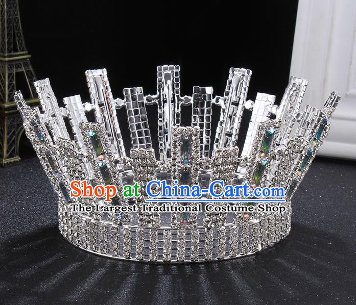 Top Grade Handmade Wedding Crystal Round Royal Crown Baroque Retro Hair Accessories for Women