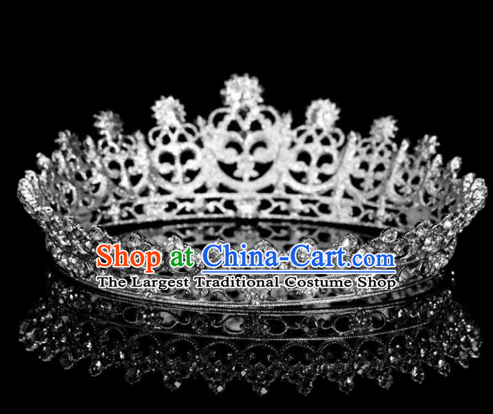 Top Grade Wedding Crystal Round Royal Crown Baroque Retro Handmade Hair Accessories for Women