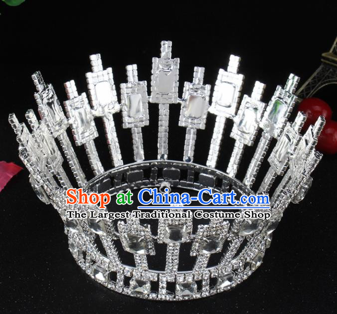 Top Grade Baroque Handmade Crystal Round Royal Crown Bride Retro Wedding Hair Accessories for Women