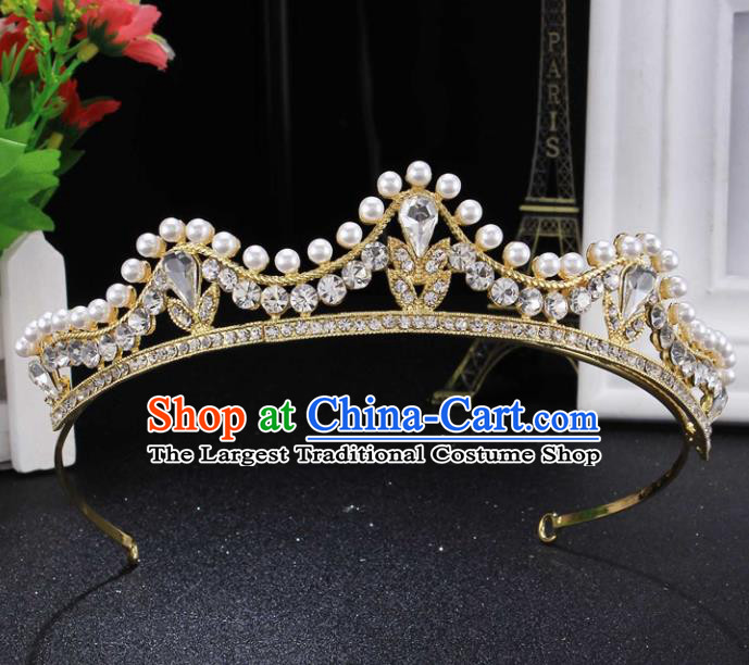 Top Grade Wedding Bride Hair Accessories Baroque Princess Pearls Hair Clasp Retro Royal Crown for Women