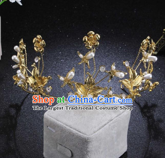 Top Grade Wedding Bride Pearls Hair Accessories Baroque Princess Retro Golden Flowers Royal Crown for Women