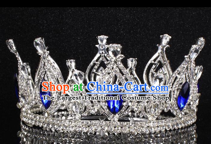 Top Grade Blue Crystal Royal Crown Baroque Princess Retro Wedding Bride Hair Accessories for Women