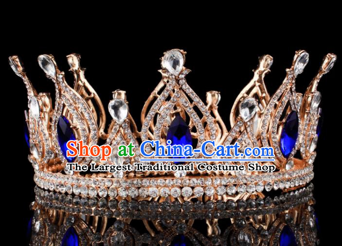Top Grade Blue Crystal Golden Royal Crown Baroque Princess Retro Wedding Bride Hair Accessories for Women