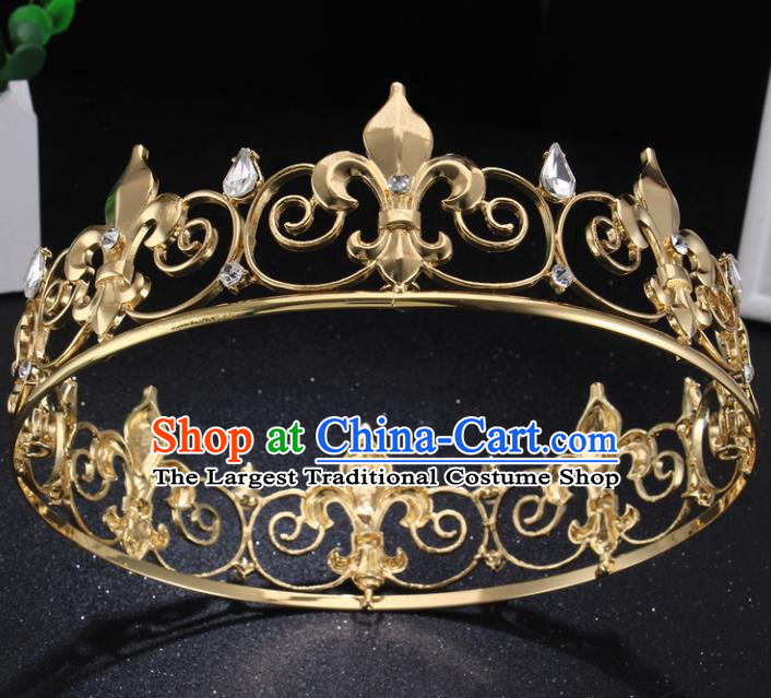 Top Grade Golden Royal Crown Baroque Princess Retro Wedding Bride Hair Accessories for Women