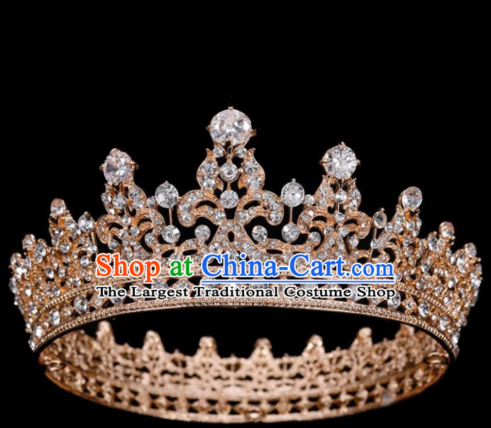 Top Grade Retro Golden Round Royal Crown Baroque Queen Wedding Bride Hair Accessories for Women
