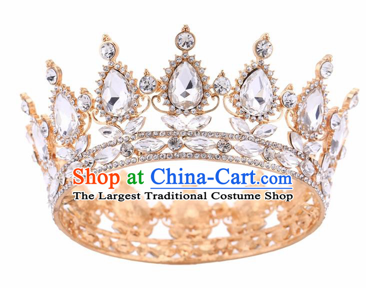 Top Grade Queen Retro Rhinestone Golden Royal Crown Baroque Wedding Bride Hair Accessories for Women