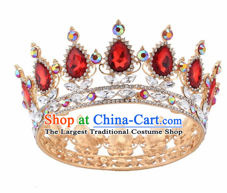 Top Grade Queen Retro Red Rhinestone Golden Royal Crown Baroque Wedding Bride Hair Accessories for Women