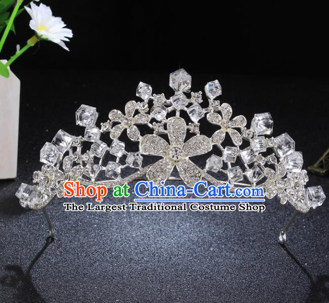 Top Grade Princess Retro Rhinestone Flowers Royal Crown Baroque Wedding Bride Hair Accessories for Women