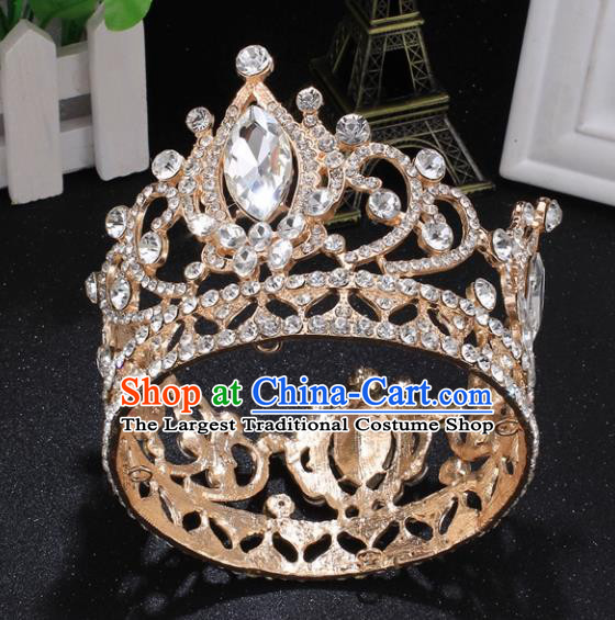 Top Grade Princess Rhinestone Round Golden Royal Crown Retro Baroque Wedding Bride Hair Accessories for Women