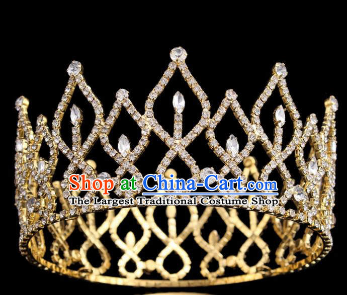 Top Grade Queen Golden Round Royal Crown Retro Baroque Wedding Bride Hair Accessories for Women
