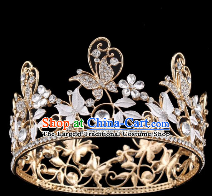 Top Grade Queen Butterfly Golden Royal Crown Retro Baroque Wedding Bride Hair Accessories for Women