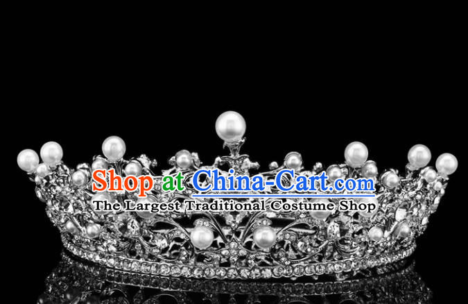 Top Grade Retro Pearls Crystal Royal Crown Baroque Queen Wedding Bride Hair Accessories for Women