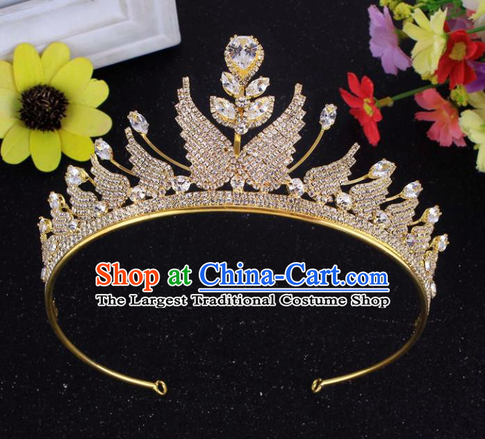 Top Grade Baroque Style Golden Rhinestone Butterfly Royal Crown Bride Retro Wedding Hair Accessories for Women