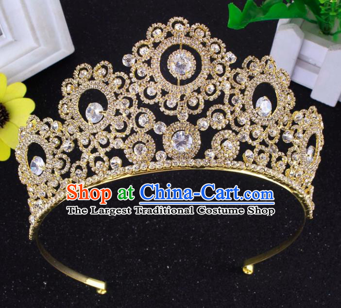 Top Grade Baroque Style Zircon Golden Royal Crown Bride Retro Wedding Hair Accessories for Women