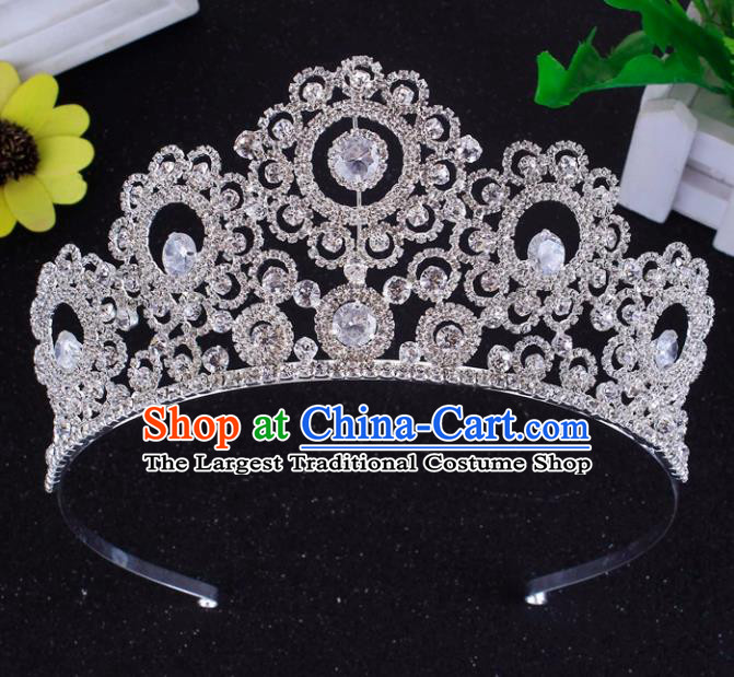 Top Grade Baroque Style Zircon Royal Crown Bride Retro Wedding Hair Accessories for Women
