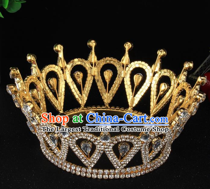 Handmade Top Grade Baroque Golden Crystal Royal Crown Bride Retro Wedding Hair Accessories for Women