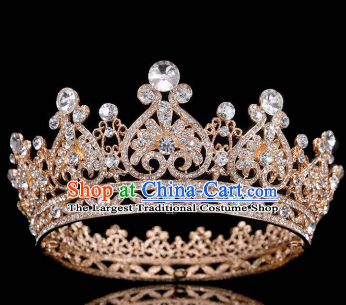 Handmade Top Grade Queen Crystal Royal Crown Baroque Bride Retro Wedding Hair Accessories for Women