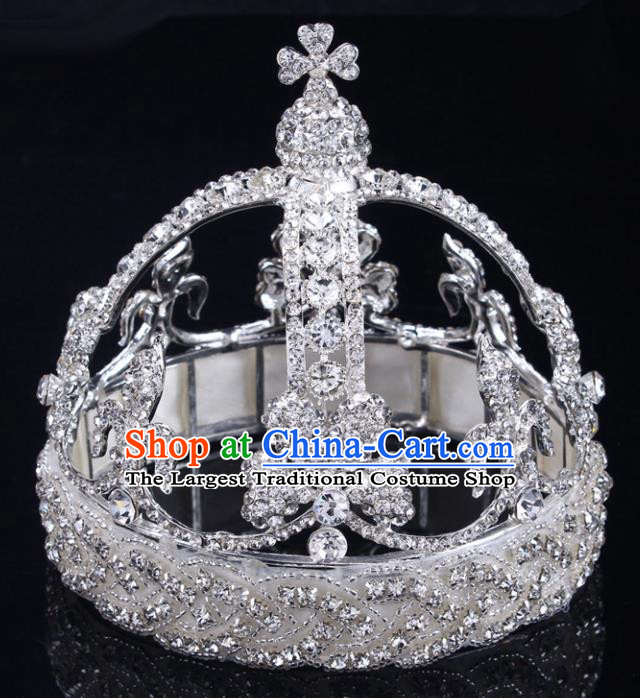Handmade Top Grade Wedding Crystal Royal Crown Baroque Queen Retro Hair Accessories for Women
