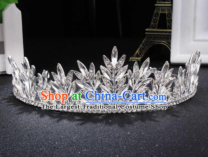 Handmade Top Grade Wedding Crystal Leaf Royal Crown Baroque Princess Retro Hair Accessories for Women