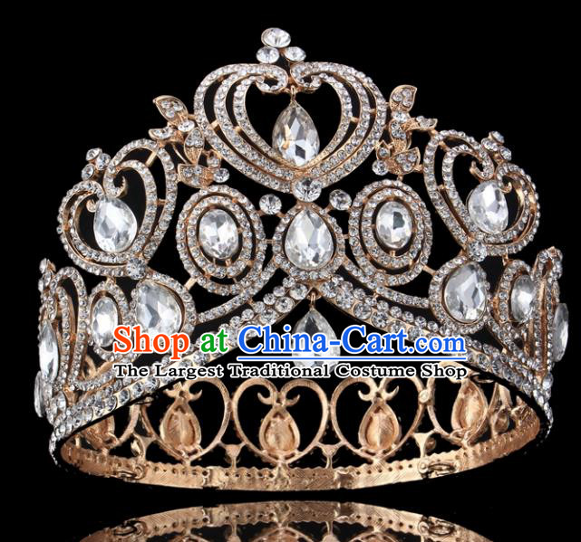 Top Grade Handmade Wedding Crystal Golden Royal Crown Baroque Retro Hair Accessories for Women