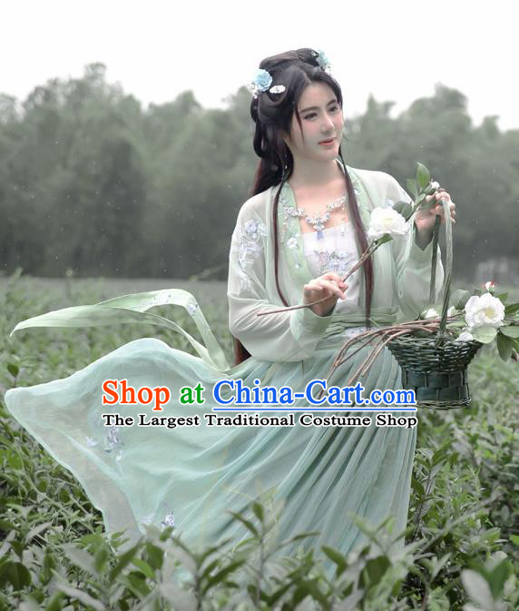 Traditional Chinese Tang Dynasty Nobility Lady Costumes Ancient Princess Green Embroidered Dress for Men