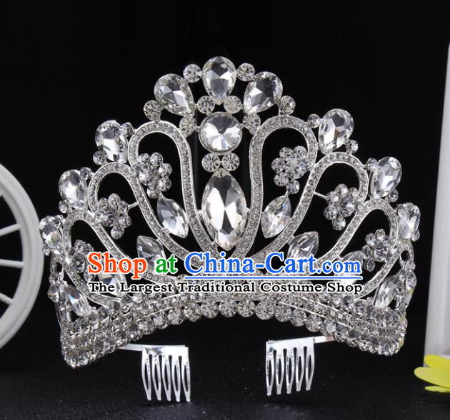 Top Grade Queen Royal Crown Retro Baroque Wedding Bride Crystal Hair Accessories for Women