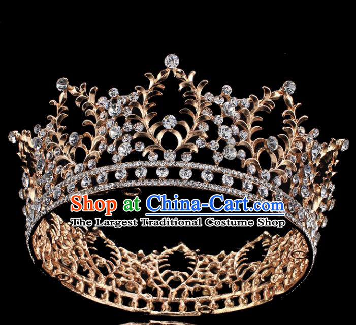 Top Grade Queen Court Crystal Royal Crown Retro Baroque Wedding Bride Hair Accessories for Women