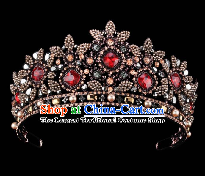 Top Grade Baroque Queen Court Crystal Royal Crown Retro Wedding Bride Hair Accessories for Women