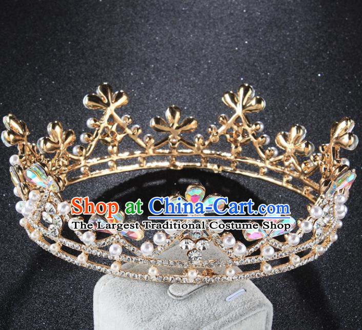 Top Grade Baroque Queen Crystal Golden Royal Crown Retro Wedding Bride Hair Accessories for Women