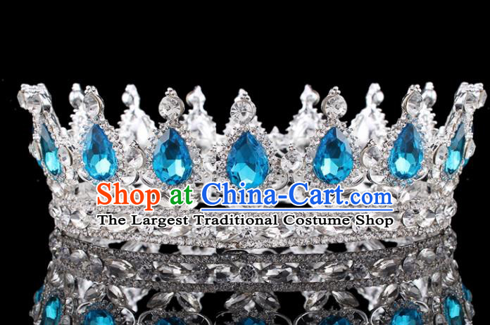 Top Grade Baroque Court Queen Blue Crystal Royal Crown Retro Wedding Bride Hair Accessories for Women