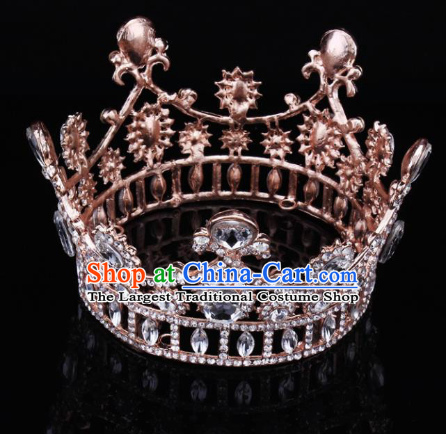 Handmade Bride Wedding Hair Jewelry Accessories Baroque Crystal Rose Golden Round Royal Crown for Women