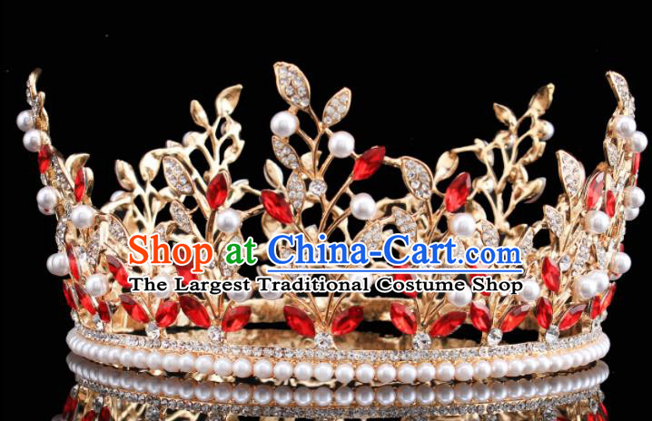 Handmade Bride Wedding Pearls Hair Jewelry Accessories Baroque Royal Crown for Women
