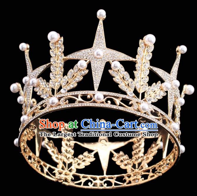 Handmade Bride Wedding Hair Jewelry Accessories Baroque Queen Royal Crown for Women