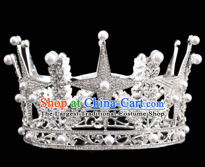 Handmade Bride Wedding Hair Jewelry Accessories Baroque Queen Argent Royal Crown for Women