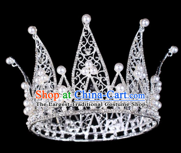 Handmade Bride Wedding Hair Jewelry Accessories Baroque Queen Crystal Pearls Argent Royal Crown for Women
