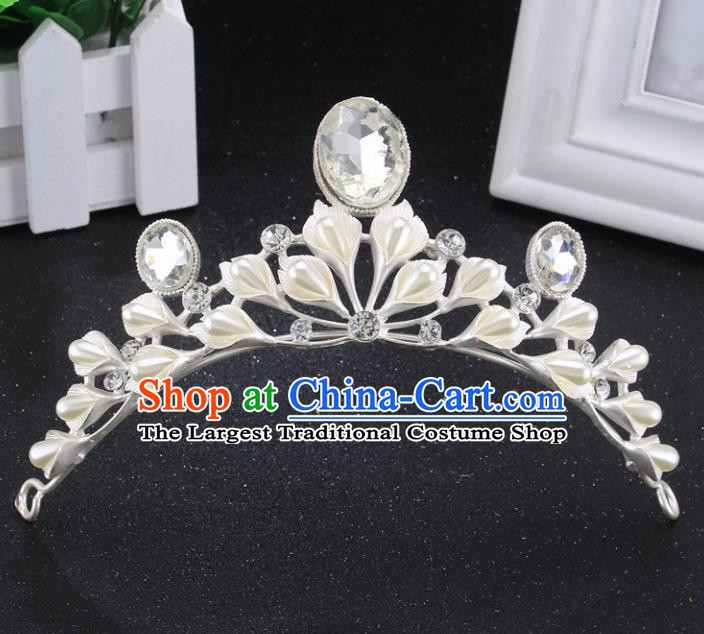 Handmade Bride Wedding Hair Jewelry Accessories Baroque Queen Crystal Pearls Royal Crown for Women