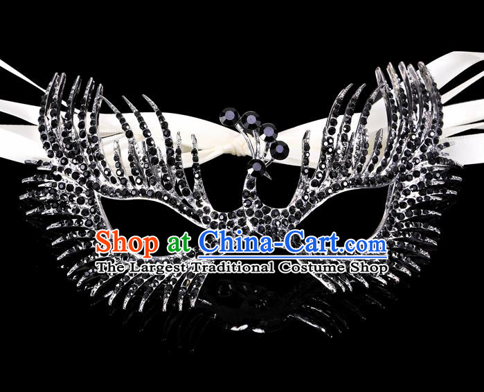 Handmade Halloween Accessories Face Mask Venice Fancy Ball Crystal Peacock Black Masks for Women