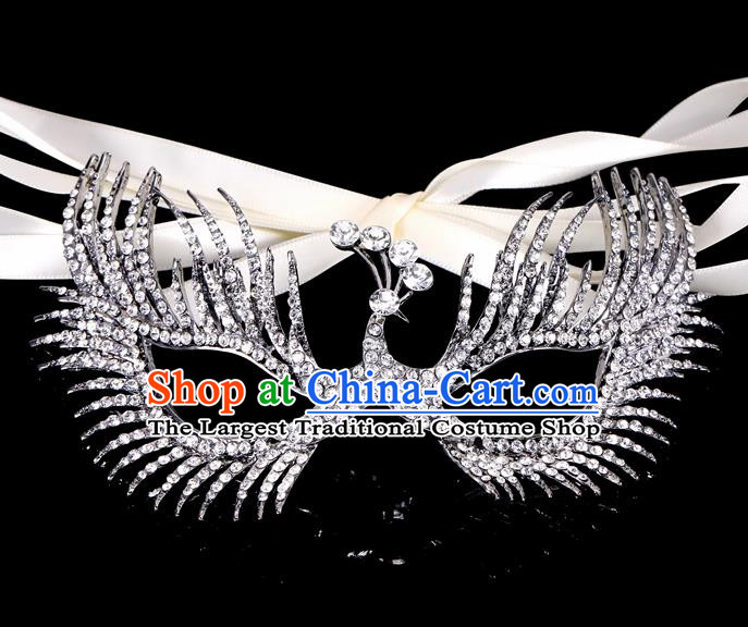 Handmade Halloween Accessories Face Mask Venice Fancy Ball Crystal Peacock Grey Masks for Women