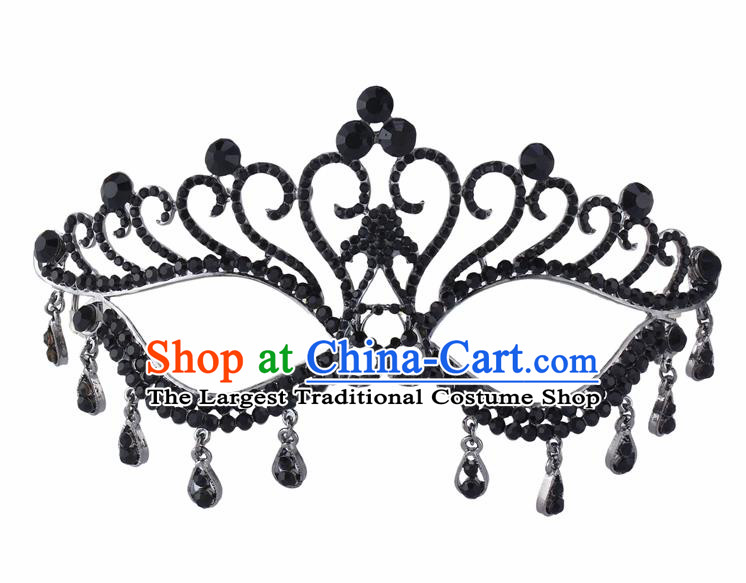 Handmade Halloween Accessories Face Mask Venice Fancy Ball Crystal Tassel Black Masks for Women