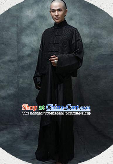 Chinese Ancient Qing Dynasty Scholar Black Costumes for Men