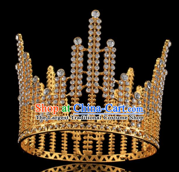 Top Grade Baroque Court Princess Crystal Royal Crown Wedding Bride Hair Accessories for Women